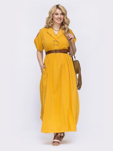 Расклешенное платье батал желтого цвета 47818, фото 1