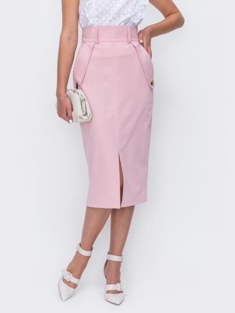 Розовая юбка прямого кроя с разрезом спереди 49509, фото 1