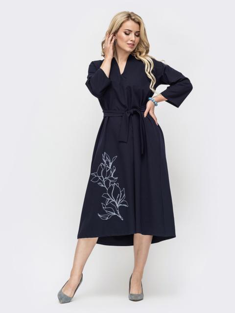 Свободное платье батал с авторской вышивкой тёмно-синее 50953, фото 1