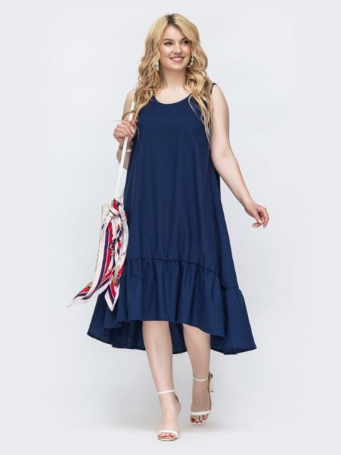 Темно-синее платье свободного кроя батал 47822, фото 1