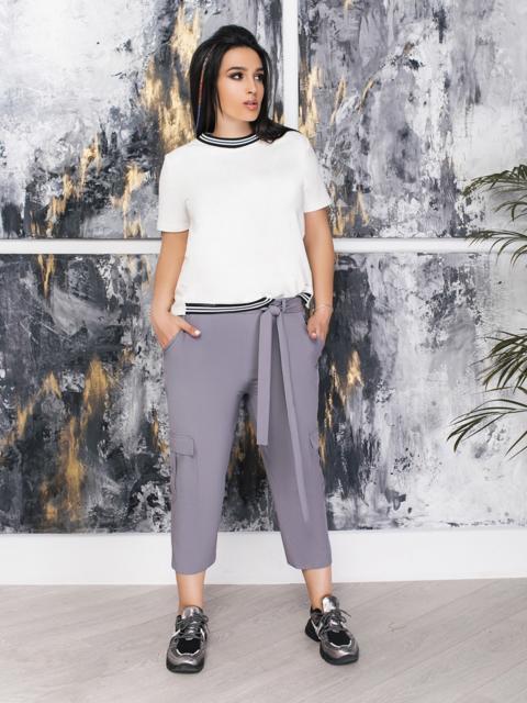 Укороченные брюки батал серые 47318, фото 1