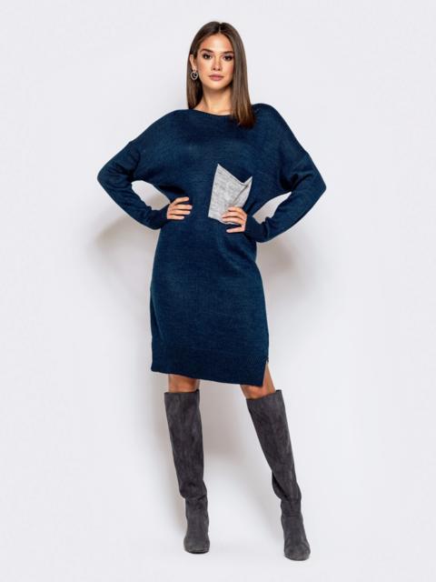 Вязаное платье с вырезом по спинке тёмно-синее - 41045, фото 1 – интернет-магазин Dressa