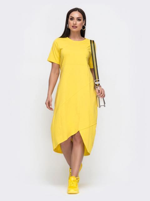 Желтое платье-футболка большого размера с удлиненной спинкой 49856, фото 1