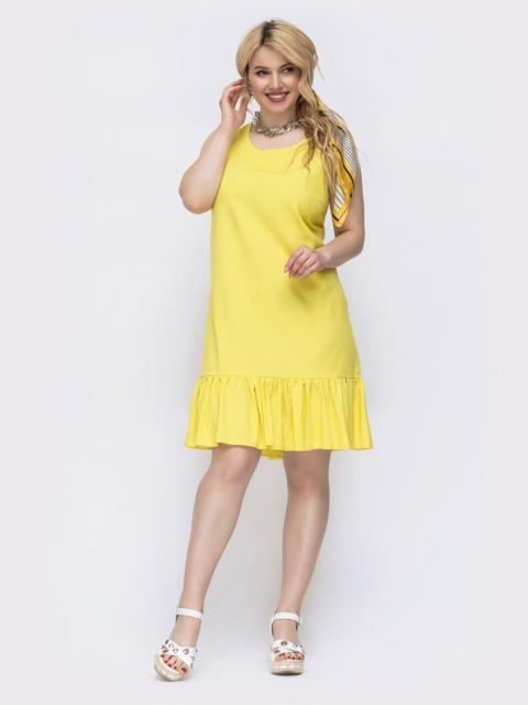 Желтое платье свободного кроя батал 47824, фото 1