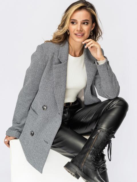 Двубортный пиджак из фактурного жаккарда серый 55249, фото 1