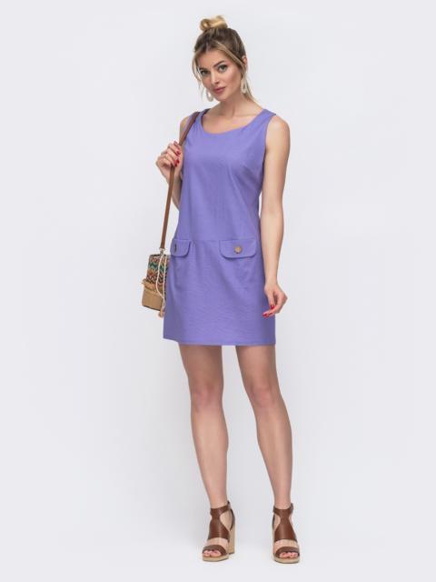 Фиолетовый сарафан с деревянными пуговицами на карманах 48591, фото 1
