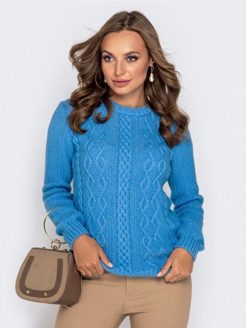 Голубой свитер из акрила с ажурной вязкой - 41158, фото 1 – интернет-магазин Dressa