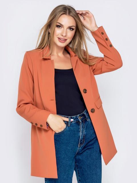 Оранжевый жакет с подкладкой и карманами - 40463, фото 1 – интернет-магазин Dressa