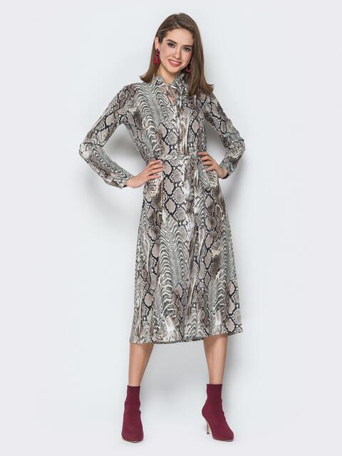 Платье из софта свободного кроя с анималистическим принтом - 20207, фото 1 – интернет-магазин Dressa
