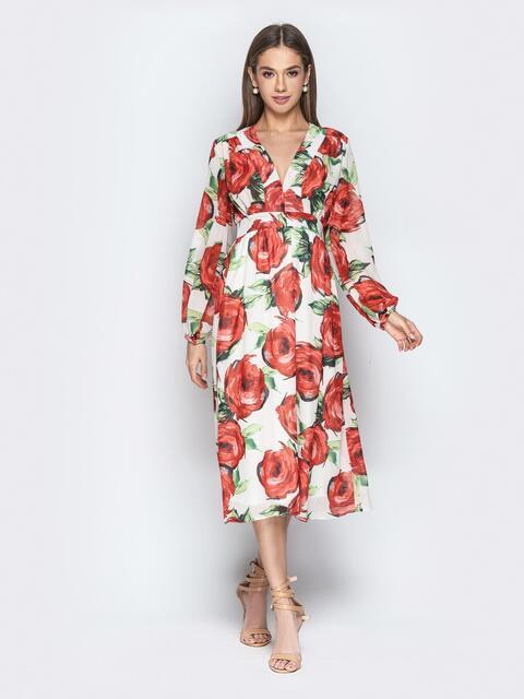 Платье с цветочным принтом и юбкой-клёш белое - 21270, фото 1 – интернет-магазин Dressa