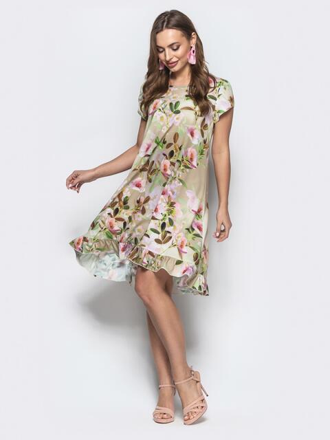 Принтованное платье из софта А-силуэта бежевое - 22008, фото 1 – интернет-магазин Dressa