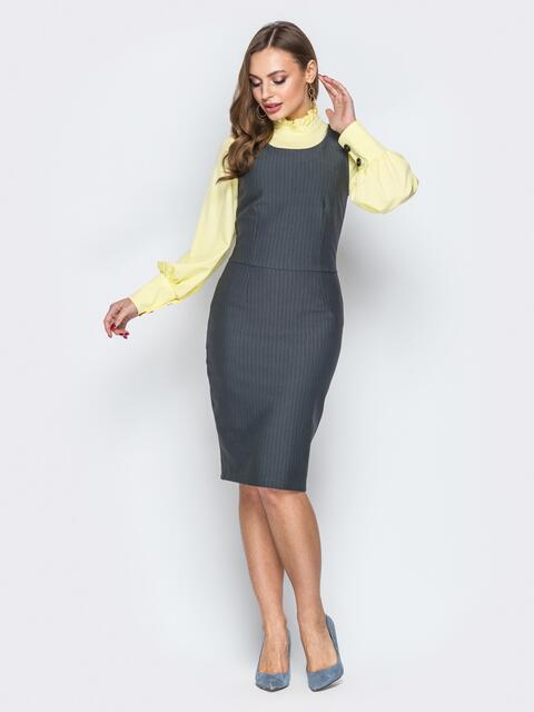 Серое платье-футляр отрезное по талии - 19944, фото 1 – интернет-магазин Dressa