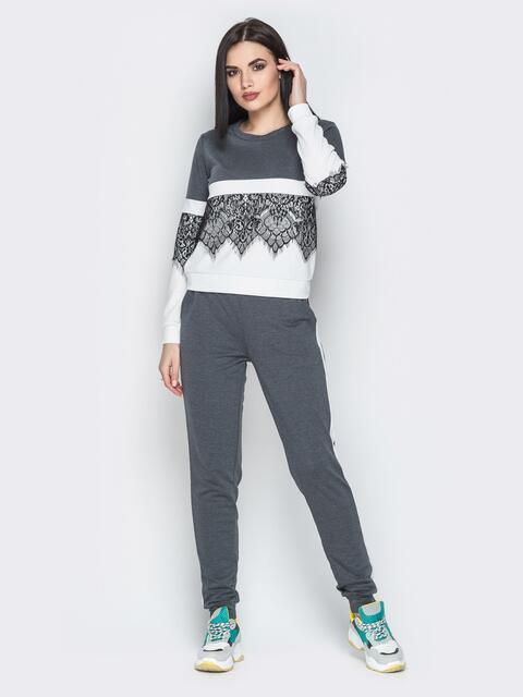 Тёмно-серый комплект с контрастными вставками и кружевом на кофте - 20731, фото 1 – интернет-магазин Dressa