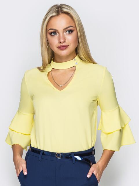 fca12e3768a Желтая блузка с имитацией чокера и рукавами воланами 14278 – купить ...