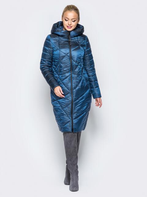 Зимняя куртка тёмно-синего цвета с кулиской на капюшоне - 16987, фото 1 – интернет-магазин Dressa