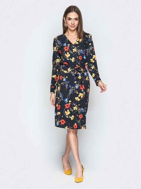 Чёрное платье с принтом и V-образным вырезом - 21023, фото 1 – интернет-магазин Dressa
