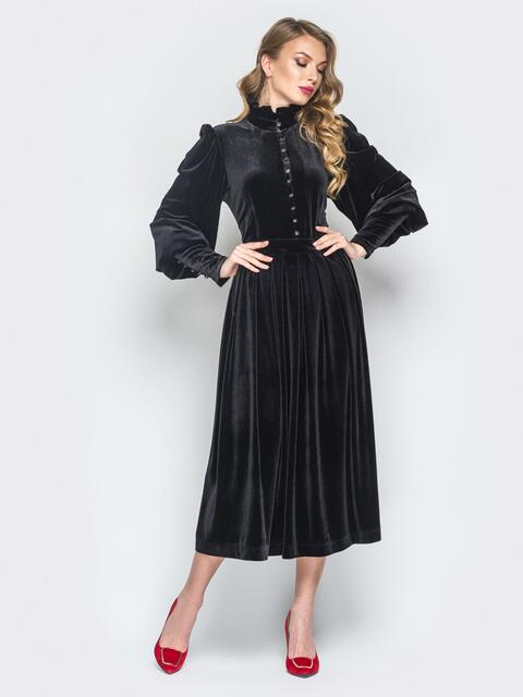 Черное велюровое платье с расклешенной юбкой - 18845, фото 1 – интернет-магазин Dressa
