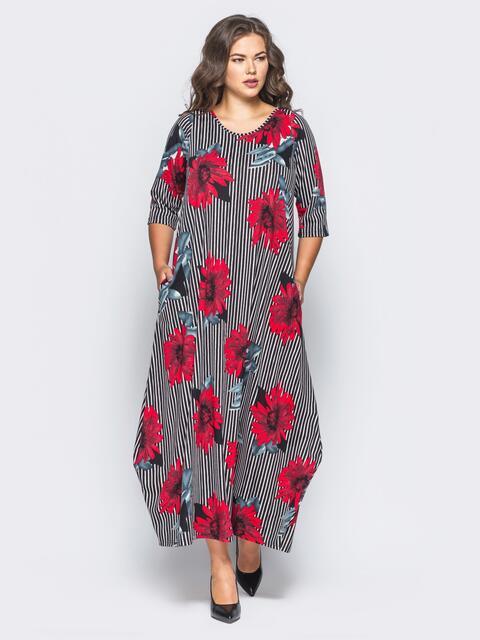Длинное платье в полоску с принтом «красные цветы» - 16670, фото 1 – интернет-магазин Dressa