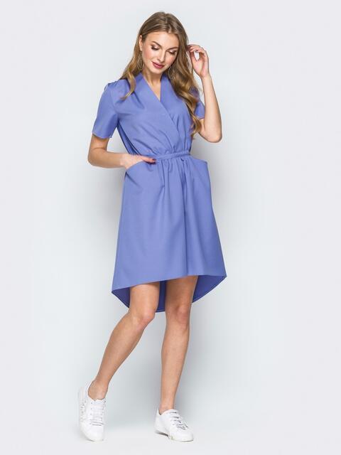 Голубое платье с кулиской на поясе и фиксированным запахом - 19907, фото 1 – интернет-магазин Dressa