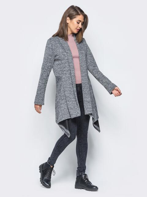 Кардиган из ангоры серого цвета с удлинением по бокам - 16340, фото 1 – интернет-магазин Dressa