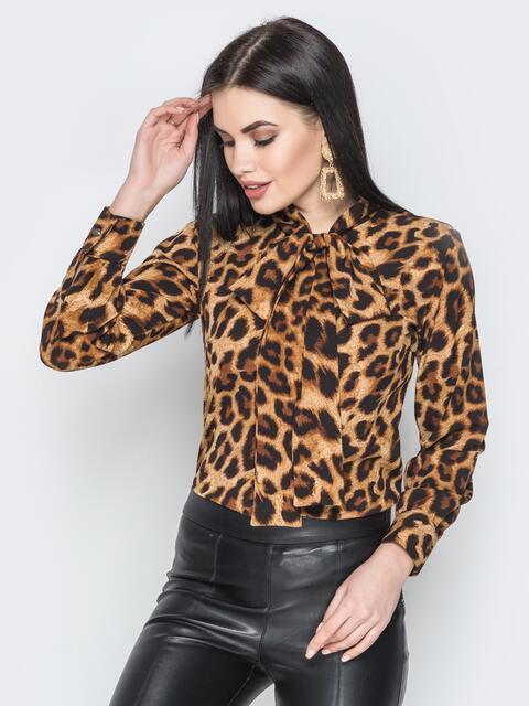 Коричневая блузка с леопардовым принтом и воротником-аскот - 20717, фото 1 – интернет-магазин Dressa