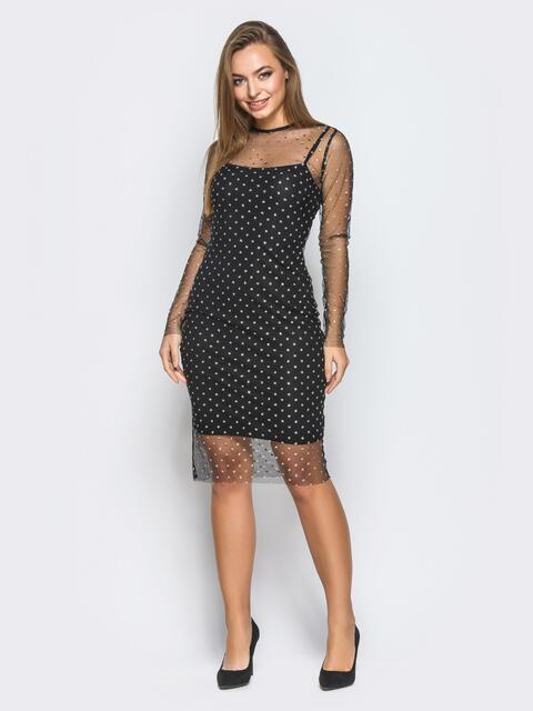 Платье-комбинация черного цвета с фатиновой накидкой - 18238, фото 1 – интернет-магазин Dressa