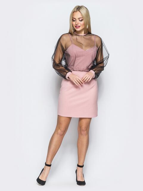Платье-комбинация розового цвета с накидкой из фатина - 18122, фото 1 – интернет-магазин Dressa