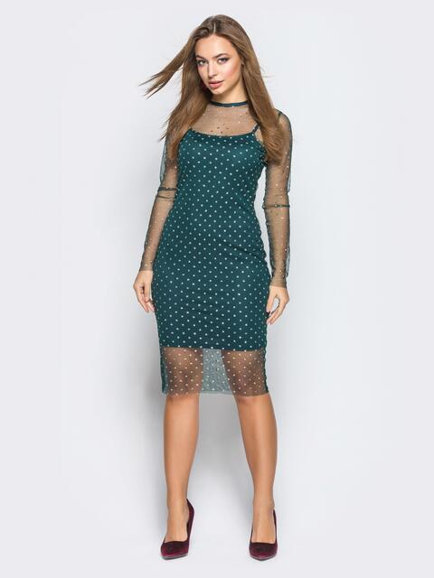 Платье-комбинация зелёного цвета с фатиновой накидкой 18240, фото 1