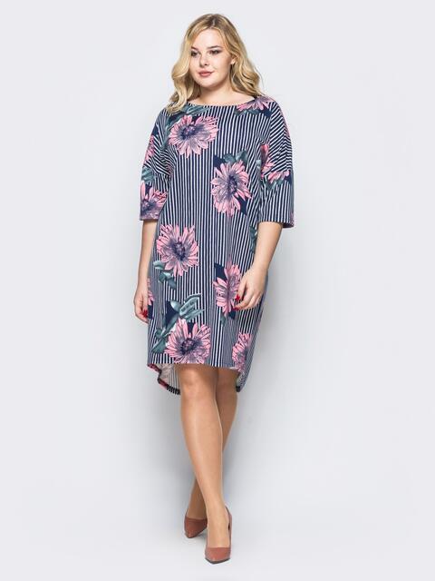 Платье свободного кроя в полоску с розовыми цветами - 16668, фото 1 – интернет-магазин Dressa