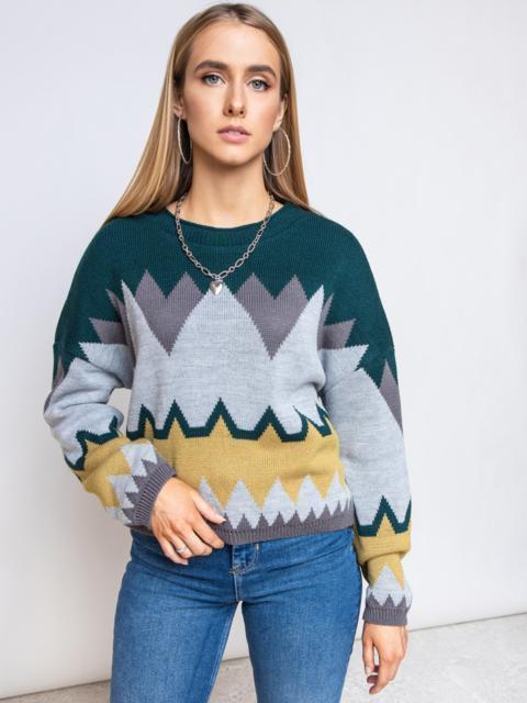 Серый свитер мелкой вязки с геометрическим принтом 51717, фото 1