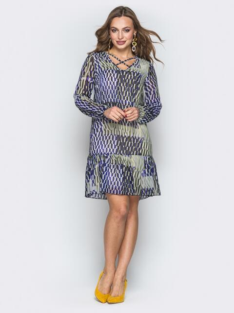 Сине-зелёное шифоновое платье-трапеция с оборкой - 19890, фото 1 – интернет-магазин Dressa