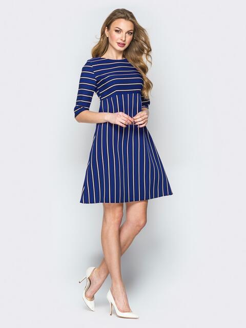 Синее платье А-силуэта из костюмного крепа - 19911, фото 1 – интернет-магазин Dressa