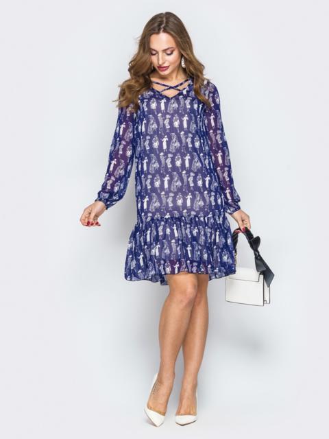 Синее шифоновое платье-трапеция с оборкой - 19893, фото 1 – интернет-магазин Dressa