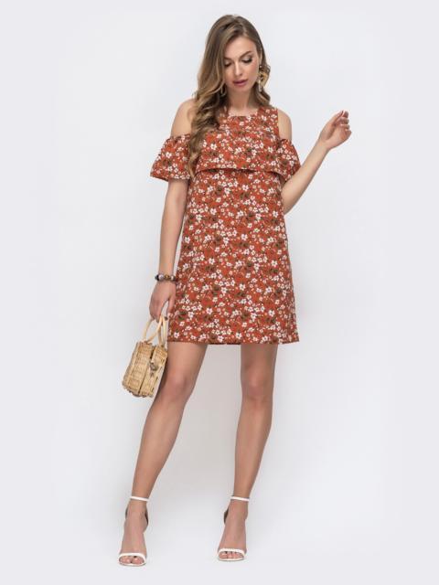Терракотовое платье из принтованного софта с воланом на лифе 48586, фото 1