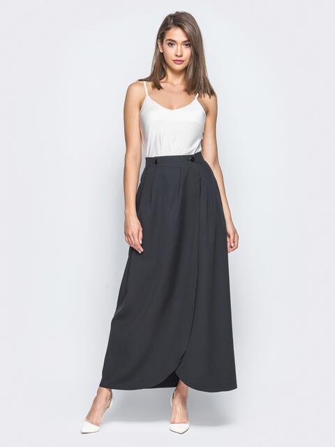 Юбка-макси черного цвета на пуговицах - 16546, фото 1 – интернет-магазин Dressa