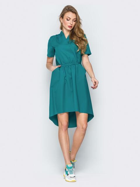 Зелёное платье с кулиской на поясе и фиксированным запахом - 19906, фото 1 – интернет-магазин Dressa