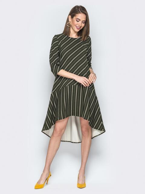 Зелёное платье в полоску со шлейфом и воланом по низу - 19902, фото 1 – интернет-магазин Dressa