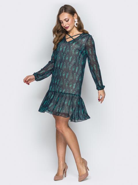 Зелёное шифоновое платье-трапеция с оборкой - 19892, фото 1 – интернет-магазин Dressa