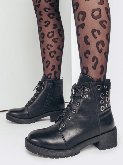 Зимние ботинки черного цвета с люверсами 51754, фото 1