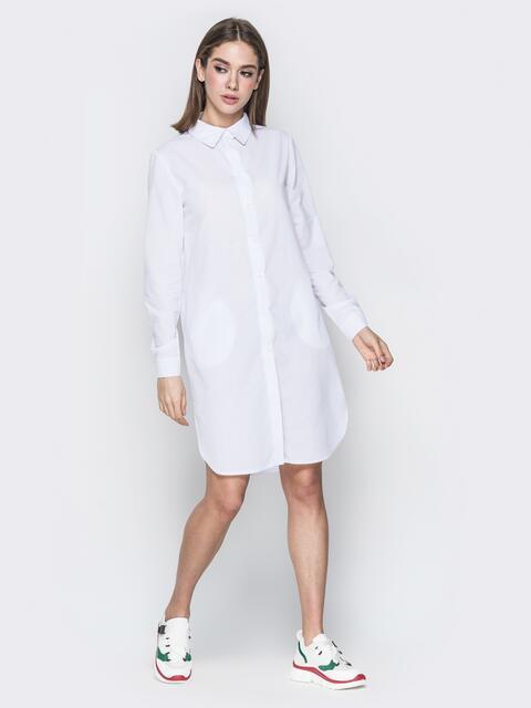 Белое платье-рубашка с карманами в швах - 20097, фото 1 – интернет-магазин Dressa