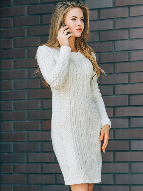 1ebb2f73100b Белое вязаное платье с резинкой на манжетах и по низу - 13165, фото 1 –