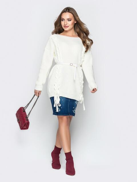 Белый свитер oversize с прошитыми косами спереди - 20131, фото 1 – интернет-магазин Dressa