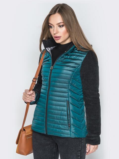 Бирюзовая куртка с капюшоном на кулиске и велюровыми рукавами - 20286, фото 1 – интернет-магазин Dressa