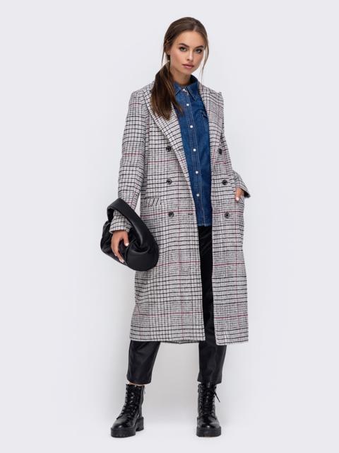 Демисезонное пальто в мелкую клетку бежевое 50601, фото 1