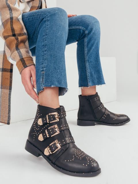 Демисезонные ботинки черного цвета с пряжками 51412, фото 1