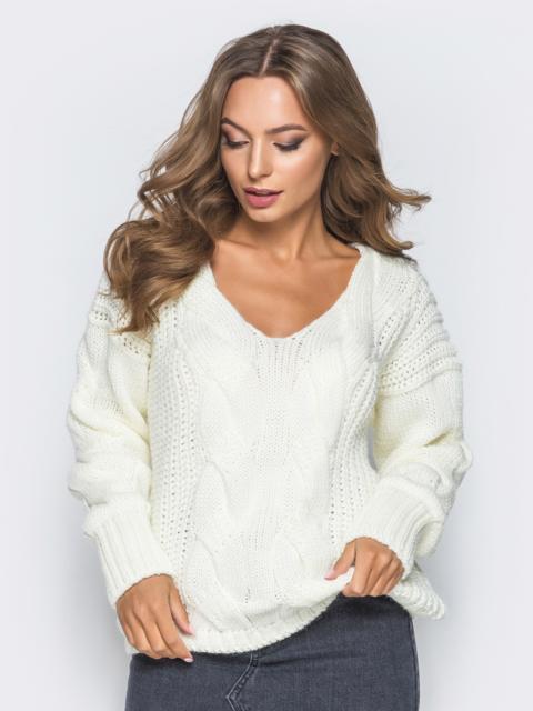 Джемпер белого цвета с объемными рукавами - 17034, фото 1 – интернет-магазин Dressa