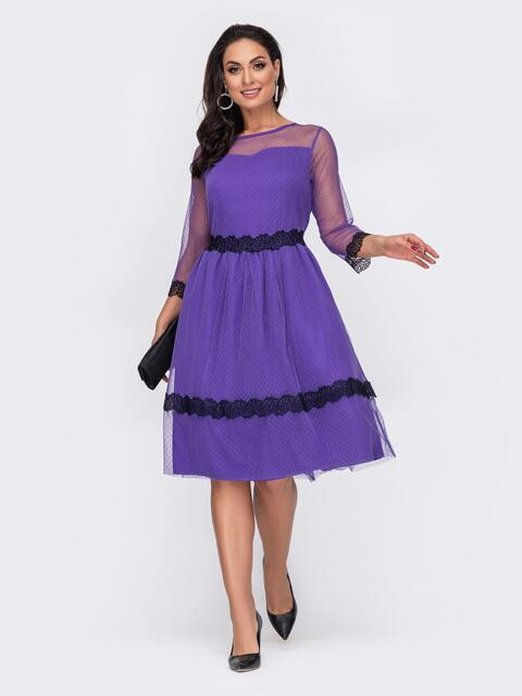 Фиолетовое платье батал с фатином и расклешенной юбкой 52203, фото 1
