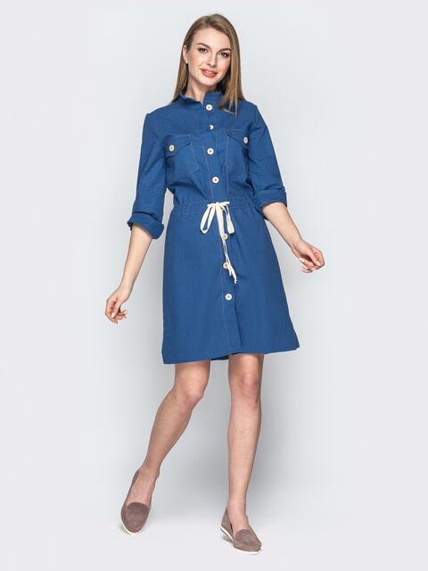 Льняное платье-рубашка с кулиской по талии синее 20662, фото 1