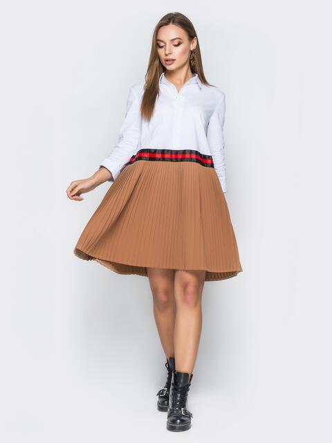 Платье свободного кроя с бежевой плиссированной юбкой - 19182, фото 1 – интернет-магазин Dressa