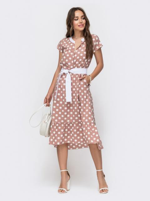 Расклешенное платье в горох с оборкой по низу бежевое - 49154, фото 1 – интернет-магазин Dressa